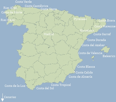 Costa De Azahar Spain Map.The Costas Of Spain And The Regions Of Spain
