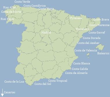 Costa De La Luz Spain Map.The Costas Of Spain And The Regions Of Spain